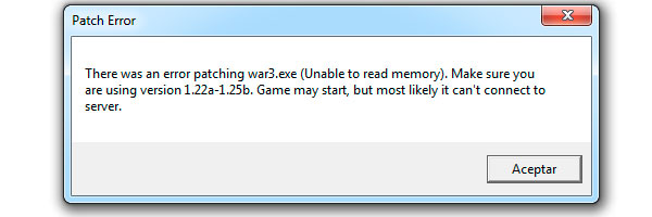 Patch Error There was an error patching war3.exe