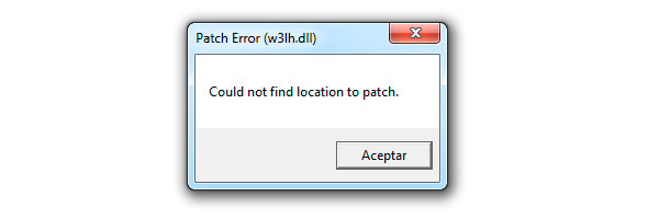 patch error (wc3lh.dll) Could not find location to patch