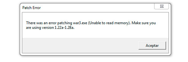 Patch Error There was an error patching war3.ese (Unable to read memory) versionn 1.22a-1.28a.