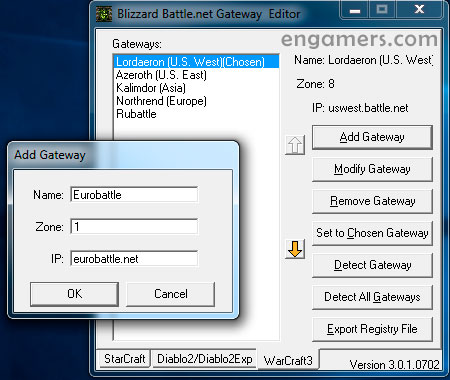 Blizzard Battle.net Gateway Editor - Add Gateway and OK